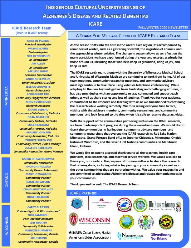 ICARE Newsletter Fall Winter 2020